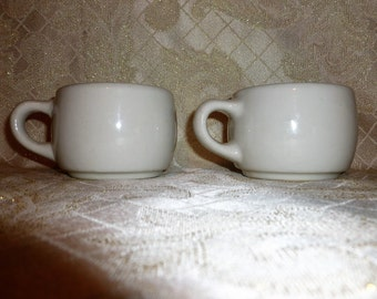 Vintage Thick Heavy Cappuccino Cups Retro 1950s Style