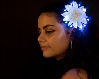 White Small LED Hair Flower