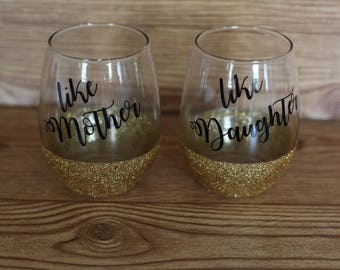 mother and daughter wine glass set, mother daughter glasses, mother daughter wine glass set