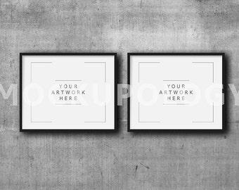set of two 8x10 16x20 24x30 horizontal digital black frame on concrete background mockup grey background instant download