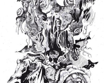 "Art surrealism drawing illustration ""A bit perturbed."""