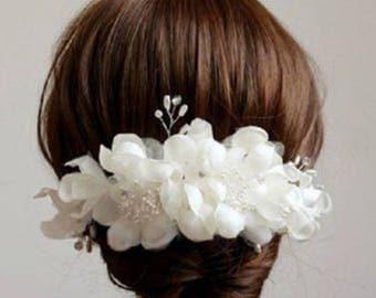 White Flower Bead Pearl Hair Wedding Bridal Headpiece Hair Accessories