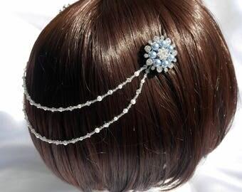 Diamante and Pearl Bridal hair chain, Blue pearl diamante mini comb chain, Blue pearl Bridal Hair accessory, Wedding hair long pearl drape