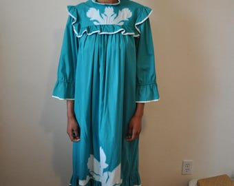 Vintage 1980s Carol Bennett Teal Floor Length Hawaiian NIghtgown with Ruffle Trim