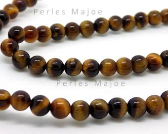 Lot de 20  perles oeil de tigre rondes naturelles 6 mm