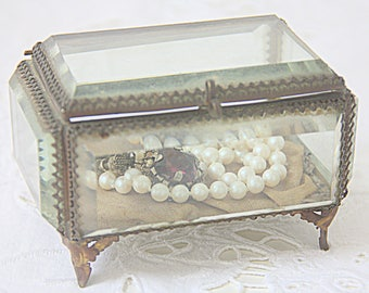 Beautiful Antique French Jewelry Box, Bevelled Glass Panels, Display Box
