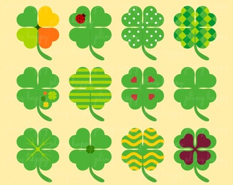 70% OFF Lucky Shamrock Clipart, Shamrock Clipart Graphics, Personal & Small Commercial Use, Instant Download