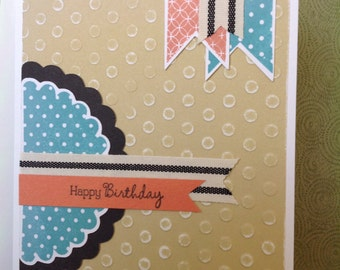 Handmade Birthday Card- birthday-handmade- feminine- Happy Birthday-pennant Birthday Card- Embossed Card