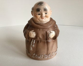 Vintage Giftcraft Japan Friar Monk Coin Bank  1950's