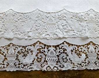 Vintage Linen Table Cloth with Chemical Lace Edging C.1910 112cm square