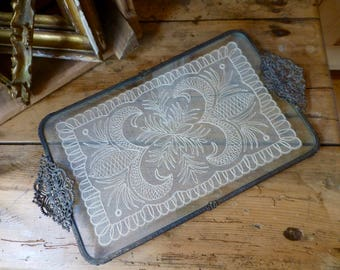 Vintage Ormolu Vanity Tray with Lace Inset