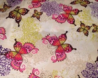 Butterfly Quilting Fabric Cotton White Purple FQ 1/2 Metre Metre Patchwork Craft