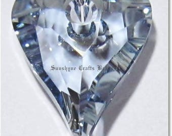 Swarovski Crystal Beads 2 Pcs 6240 CRYSTAL BLUE SHADE Wild Heart Bead Pendant 12x10MM