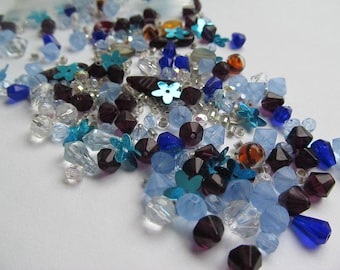 Czech Glass Faceted Bead Mix - Variety of Shapes & Sizes - Beautiful Assortment of Colors - Blue Floral - 45g