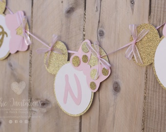 Mini Banner  Minnie Mouse Gold, Pink, Mickey and Minnie, Banner Birthday, One Banner