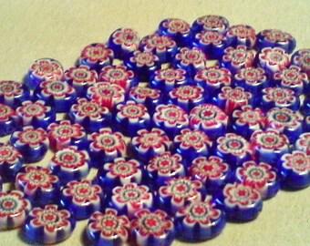 Millefiori glass beads;  red white blue Millefiori, glass lentils, approximately 8x9x2.5mm, 10pcs/3.00.