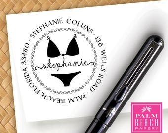 Bikini Pre Inked Address Stamp - Personalized Swimsuit Return Address Stamper - Black Self Inking Stamp - Beach Themed Home Gift