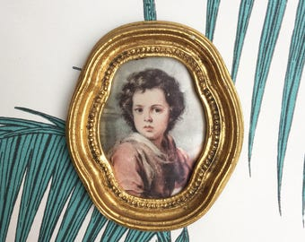 Miniature Gold Frame. Vintage Framed Cloth Picture. Portrait. Peinture sur soie. Gold Decor. Framed Satin. Rustic Decor. French Country
