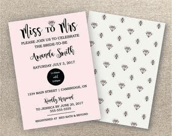 Wedding Shower Invitation - Digital Invitation - Bridal Shower Invitation- Miss to Mrs Shower Invitation - Cute Wedding Shower Invite