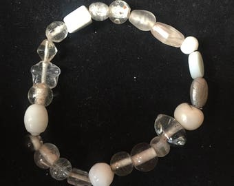 White, clear and gray Beaded Bracelet