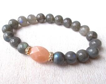 Labradorite Bracelet Sunstone Bracelet Wrist Mala Yoga Bracelet Healing Jewelry Spiritual Jewelry Self Confidence Optimism