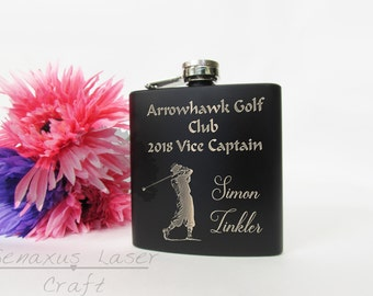 Personalised 6oz Hip Flask, Golf design  Perfect Gift for Birthdays, Anniversaries, Stag do's and Weddings & Sports Trophies (BF26)