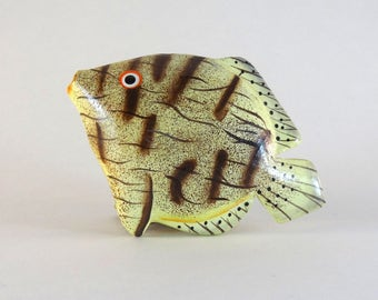 Wood brooch//Handpainted//For him//Lightweight//Tropical fish