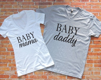 His and Hers Shirts. Baby Shower Gift. Baby Announcement. Couples Shirts.  Baby Mama Shirt. Baby Daddy Shirt.