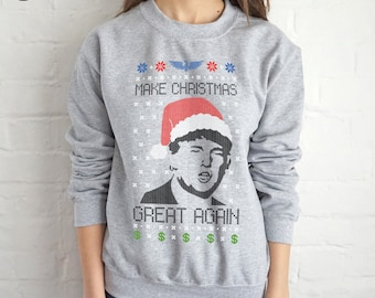 Donald Trump Make Christmas Great Again Ugly Christmas Sweatshirt Sweater Jumper Top Funny USA America 2016 President