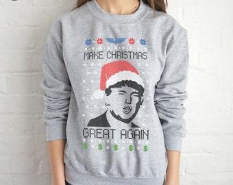 Donald Trump Make Christmas Great Again Ugly Christmas Sweatshirt Sweater Jumper Top Funny USA America 2016 President