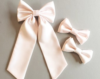Satin Sailor bow with long tail- blush satin hairbow- Flower girl hairbow- Flower girl sash - satin sailor hairbow - sailor hair bows