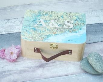 Personalized Honeymoon Map Keepsake Box  Map Personalised Design Custom Monogrammed Suitcase Style Wooden Memory Box Travel Gift
