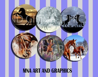 Horses mix IMAGES 1 inch - Beautiful horses collage mix bottle cap images  4x6 inch format INSTANT DOWNLOAD