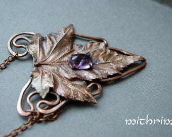 Pendant amethyst leaf * real botanical jewelry with amethyst boho copper leaf copper necklace leaf pendant botanical jewelry copper pendant
