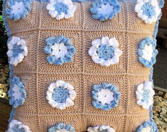 Crochet Cushion Cover with 3D flowers -PDF Pattern