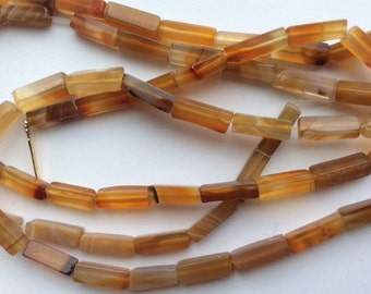 Blond Agate 13x4mm rectangular bead strand - 39""