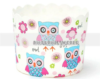 50X owl Baking Cups,Cupcake Liners,Cake Cups Candy Cups Paper Dessert Cups Rainbow Party,Birthday Favor DIY Toppers,Wedding Favor