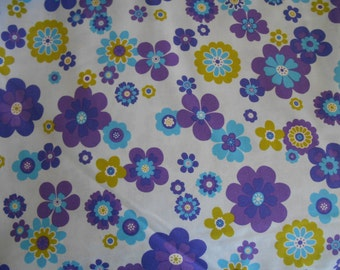 Blue flowers limegreen purple cotton fabric by the yard clearance sale