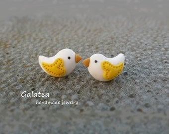 Love Bird earrings Little bird jewelry Easter Bird stud earrings Valentines jewelry Tiny Bird Heart earrings In Love earrings stuffer gift