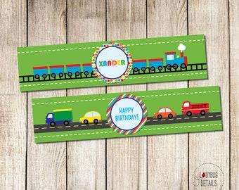 Transportation Water Bottle Labels, Planes Trains Automobiles Water Bottle labels, Train Water Bottle Labels, Transportation Party