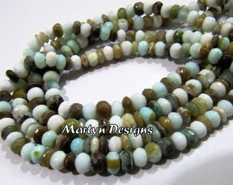 Top and Finest Quality Natural Peruvian Opal 6mm Size Beads , Rondelle Faceted Genuine Peru Opal Beads , Length 10 inch, Semi Precious Beads