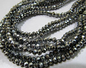 AAA Quality Silver Pyrite Color Beads , 150 Beads per Strand , 3mm Size Beads , Rondelle Faceted Silver Coated Beads , Hydro Quartz Beads