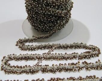 SALE- Hessonite Hydro Quartz Smooth Beaded Chain , Wire Wrapped Angoori Chain , 2mm Size Cluster Chain , Sold per FOOT , Grape Chain
