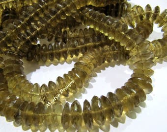 Best Quality Genuine Bear Quartz Faceted Gemstone Beads , German Cut Rondelle Shape Beads 8-12 mm , Strand 8 inches long , Graduated Beads.