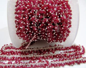 AAA Quality Ruby Beaded Chain Rondelle Faceted Ruby Corundum Beads 3mm Wire Wrapped Dangling Chain Silver Plated Rosary Chain Sold per FOOT