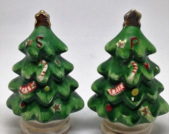 Christmas Tree Salt and Pepper Shakers, Xmas Tree Salt and Pepper Shakers, Holiday Salt and Pepper Shakers