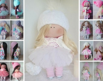 Rag doll Baby doll Nursery doll Tilda doll Handmade doll Fabric doll Pink doll Cloth doll Textile doll Interior doll Textile doll by Elvira