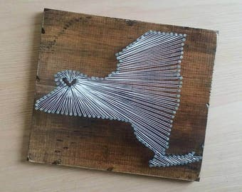 New York String Art, State string Art, New York Nail Art, Rustic Decor, custom sign, NY love, NY home, NY decor, 12x13