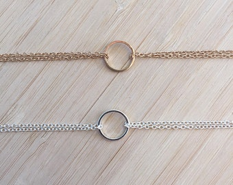 Karma Choker Necklace. 14K Gold or Silver Plated. Eternity Circle Necklace. Layered Choker Necklace. Trendy Celebrity Choker.