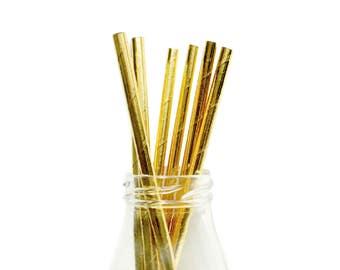 25 Metallic Gold Paper Straws, Gold Paper Straws, Wedding Paper Straws, Gold Party Straws, Metallic Straws, Gold Straws, Gold Party Supplies
